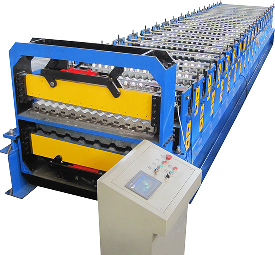 Trapezoidal & corrugated panels double layer machine